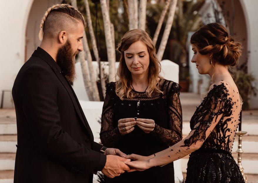 La novia del vestido negro: la boda de Karen y Adam