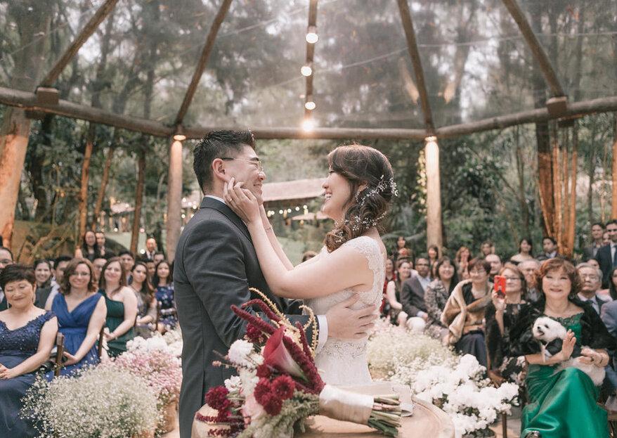"""Priscila & Hitoshi: inspiração nipônica para um lindo casamento ao ar livre celebrado por Maurício Macri da empresa """"Eu caso vocês"""""""