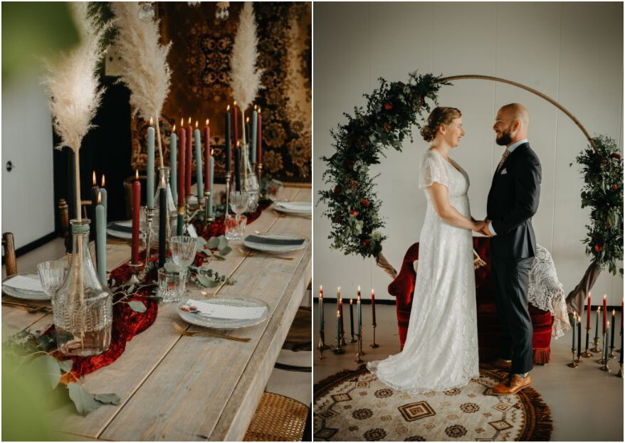 Boho classy styled shoot met een touch of vintage