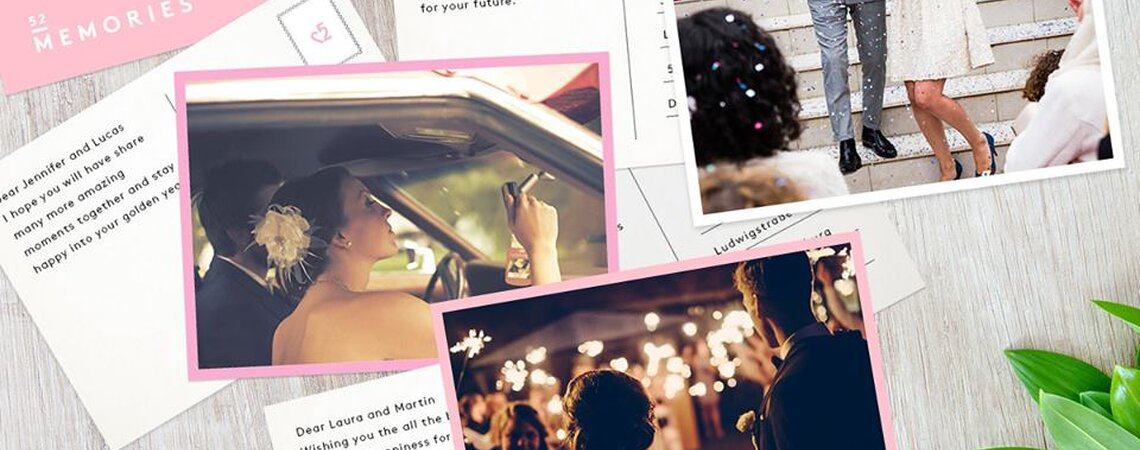 Verschenken Sie die schönsten Hochzeitserinnerungen per Postkarte – mit 52memories