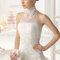 Длинное свадебное платье с американской проймой и кружевным корсетом