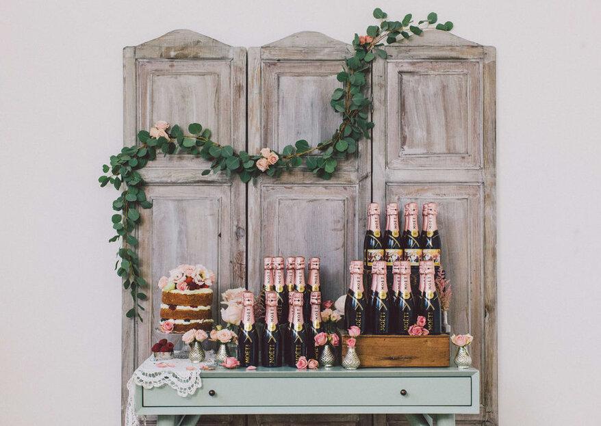 Sorprende en tu boda con las botellas mini de Moët & Chandon y haz un brindis por todo lo alto