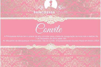 Principessa Noivas convida à inauguração do novo espaço dia 7 de Dezembro