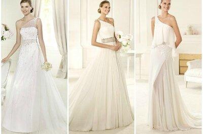 Selección Zankyou de los más bellos vestidos con un solo hombro para tu boda en 2013