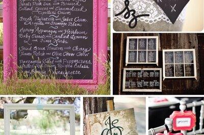 Collage de inspiración para crear un pizarrón para tu boda