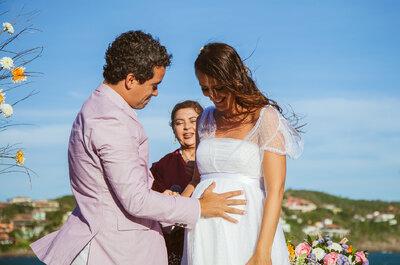 Bianca e Adriano: noiva grávida + casamento DIY na praia = amor imensurável