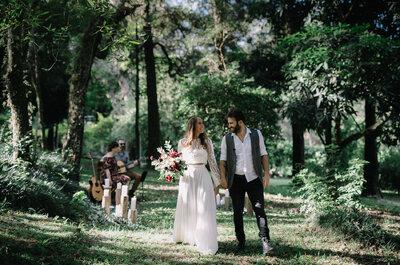 Elopement Wedding no bosque: simplicidade e clima outonal em editorial apaixonante!