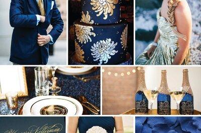 La mejor combinación de colores para tu boda: Azul marino y dorado... ¡Elegancia pura!