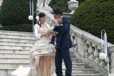 Greta, Fabio e il piccolo Jacopo: un real wedding di riti, blu e poesia