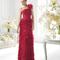 Vestido de un hombro en color rojo y con detalle de flor para damas de boda