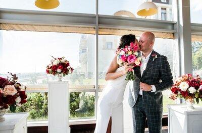Летняя свадьба Лилии и Дениса в винных оттенках!