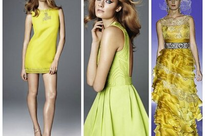 Vestidos de fiesta amarillos para las bodas en primavera