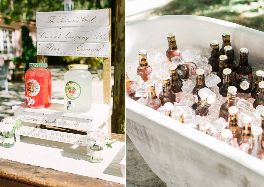 7 estilos originais para dispor as bebidas no seu casamento. Tchim tchim!