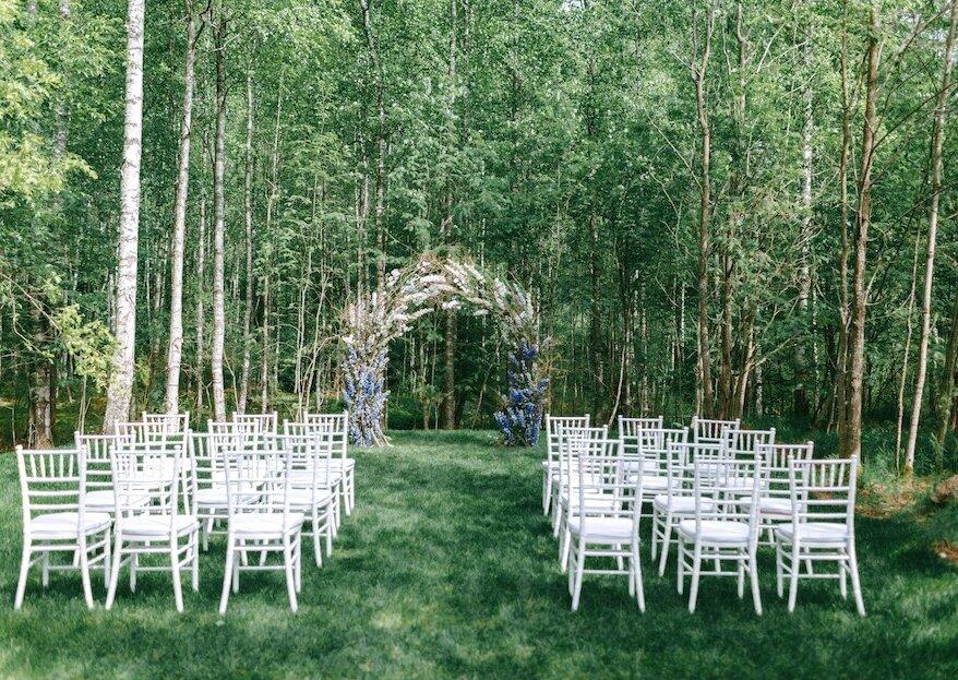 Классика в лесной тематике: свадьба Анастасии и Алексея