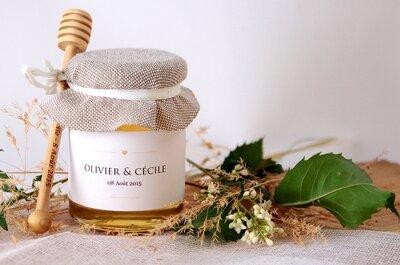 Pour votre mariage, offrez à vos invités des petits pots de miel personnalisés, écolo et savoureux