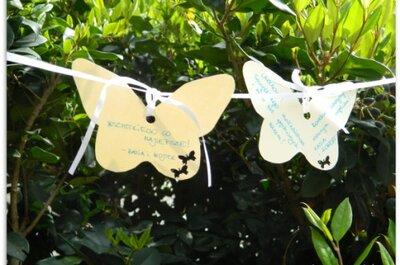 Księga gości na wesele w plenerze - papierowe motyle