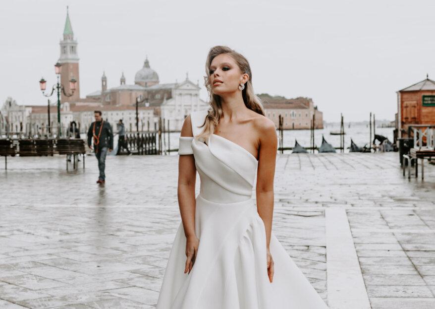 Seleção Zankyou: vestido de noiva de um ombro só
