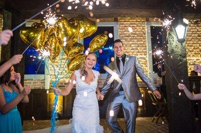 Casamento clássico de Isabella e Leandro: decoração em tons de branco, dourado e azul Tiffany