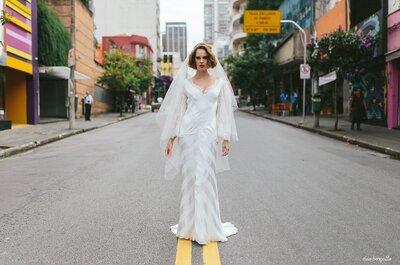 A beleza do caos: Av.Paulista e Rua Augusta são cenários do editorial de uma noiva cosmopolita, madura e única