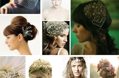 Collage de inspiración para elegir el peinado de novia con estilo