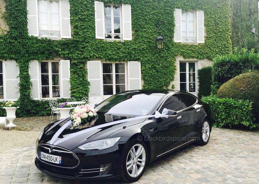 Bluffez vos proches avec une voiture de mariage 100% électrique haut de gamme : DRIVELECTRIC et Black Birds Paris