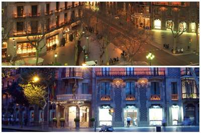 Barcellona: il celebre Paseo de Gracia e la meravigliosa facciata, in pieno stile modernista, dell'Hotel Condes. Foto Hotel Condes