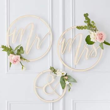 Círculo de madera Sr y Sra oro boda 3 unidades- Compra en The Wedding Shop