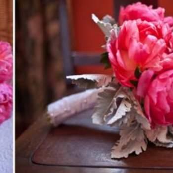 Colorido ramos de peonías rosas.