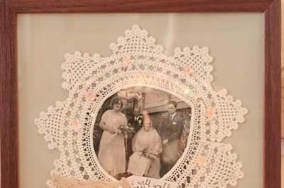 Fotografias emolduradas em tricot... no post do dia