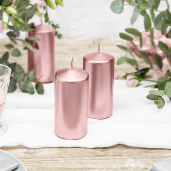 Vela Decorativa Mediana Color Oro Rosa 6 Unidades- Compra en The Wedding Shop