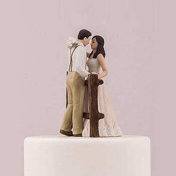 Cake Topper Amour Dans Les Bois Robe Rose - The Wedding Shop !