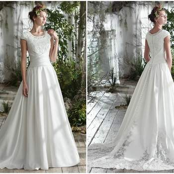 "Exquisite details elevate this timeless cap-sleeve A-Line wedding dress, featuring a fitted lace bodice, asymmetrically cinched waist, and pleated Roma satin skirt. Artfully placed illusion lace embroidery accentuate the voluminous train and soft scoop neckline. Finished with covered buttons over zipper and inner elastic closure.  <a href=""https://www.maggiesottero.com/maggie-sottero/jill/9771"" target=""_blank"">Maggie Sottero</a>"