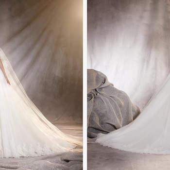 Un vestido de novia con sobrefalda para las que no pueden decidirse entre sirena o princesa. Su escote corazón sin mangas y los tejidos que lo confeccionan: tul, encaje y decoraciones en hilo bordado y pedrería, logran que este vestido brille con luz propia, y haga brillar a la novia.