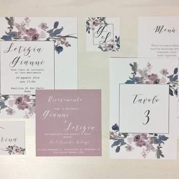 Papermoon Design: Partecipazione con illustrazioni di fiori ad acquarello per uno stile romantico e boho.