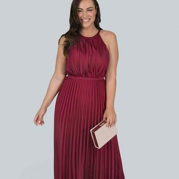 Credits: Chi Chi London Burgundy Pleated Maxi Dress, Evans