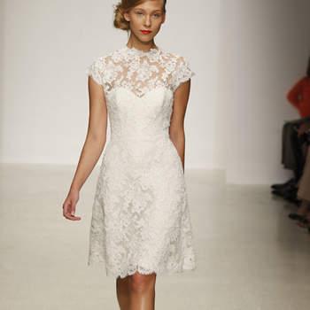 Vestido de novia corto, sencillo y con encaje, estilo vintage