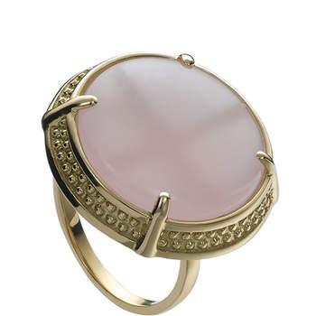 Precioso anillo de oro de ley amarillo y cuarzo rosa. Ideal para una novia romántica. Foto: Chancejoyas. http://www.chancejoyas.com