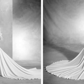 Deslumbrante vestido de noiva em crepe e organza de silhueta sereia. O seu decote em barco, a manga comprida com aplicações de pedraria e penas, e a saia aberta conferem sensualidade a este vestido de estilo moderno.