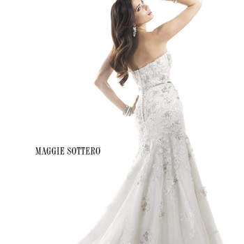 "Sequins and sparkle add pizazz to this flowing A-line gown. Beaded embroidered lace with floral appliqués adorn a tulle over point d'esprit and Chic Organza skirt. Swarovski crystals dazzle from an attached belt at the waist. Finished with zipper over inner corset closure.  <a href=""http://www.maggiesottero.com/dress.aspx?style=4MS843"" target=""_blank"">Maggie Sottero Platinum 2015</a>"