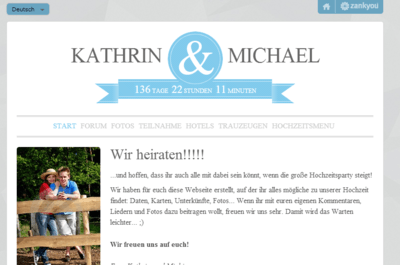 Gestalten Sie eine Hochzeits-Homepage und halten Sie so alle Hochzeitsgäste auf dem Laufenden!
