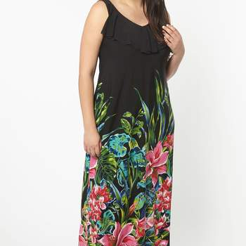Black Tropical Print ITY Maxi Dress. Credits: Evans