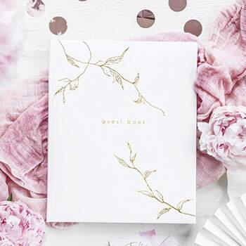 Libro de Firmas en blanco y dorado- Compra en The Wedding Shop