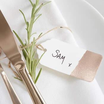 Etiquetas de boda oro rosa 10 unidades- Compra en The Wedding Shop