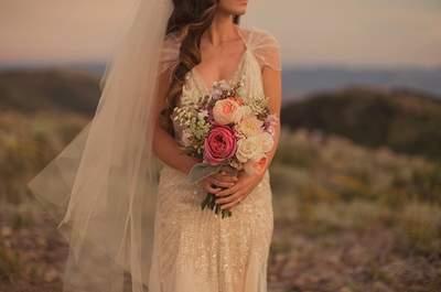 Реальная свадьба: розовый и золотой цвет свадьбы в стиле винтаж