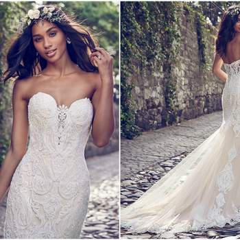 "Beaded lace motifs cascade over tulle in this fit-and-flare wedding dress, accenting the illusion plunging-sweetheart neckline and illusion scoop back. Lined with shapewear for a figure-flattering fit. Finished with covered buttons over zipper closure.  <a href=""https://www.maggiesottero.com/maggie-sottero/autumn/11153?utm_source=zankyou&amp;utm_medium=gowngallery"" target=""_blank"">Maggie Sottero</a>"