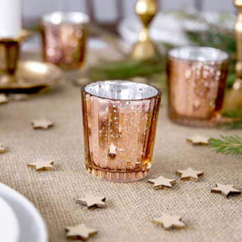 Candelero de vidrio de oro rosa de 6 cm 4 piezas- Compra en The Wedding Shop