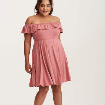 Mauve Jersey Ruffled Off Shoulder Dress. Credits: Torrid