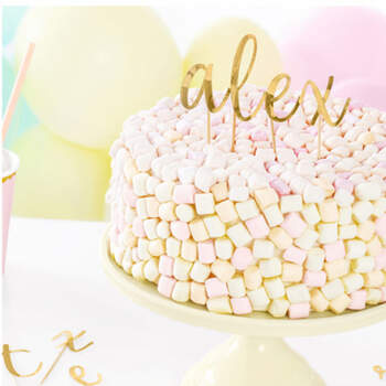 Cake Topper Letras del Alfabeto color Oro- Compra en The Wedding Shop