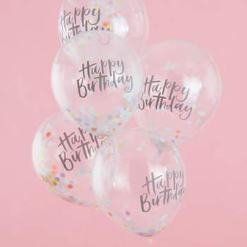 Globos de cumpleaños pastel 5 unidades - Compra en The Wedding Shop