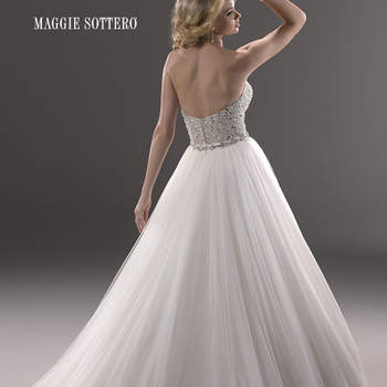 "A fairytale ballgown with fully encrusted bodice, this glamorous tulle dress sparkles with Swarovski crystals. Finished with a strapless sweetheart neckline, and a zipper over inner corset back closure.  <a href=""http://www.maggiesottero.com/dress.aspx?style=3MS745"" target=""_blank"">Maggie Sottero Platinum 2015</a>"